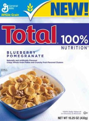 fake blueberries - General Mills Total Blueberry Pomegranate